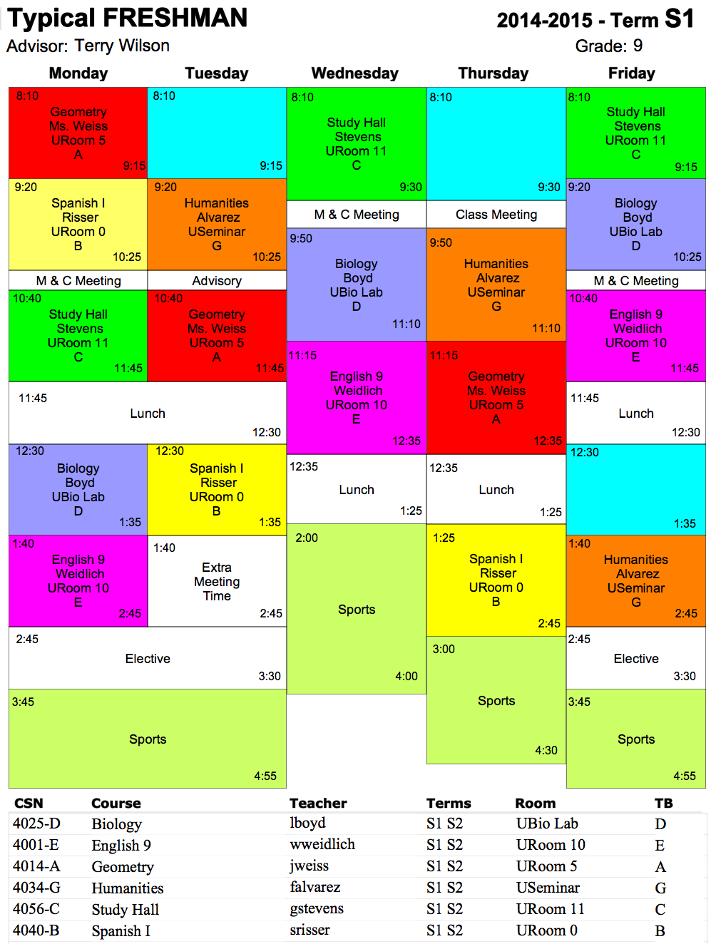 sample college schedule
